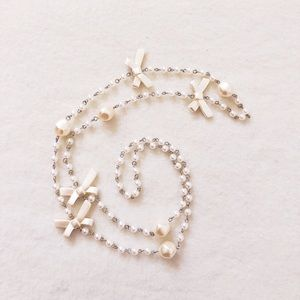 4/$22 Long Faux Pearl White Ribbon Beaded Necklace